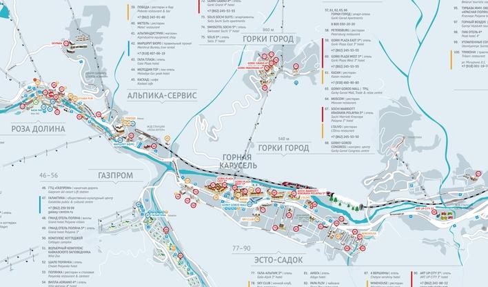 Схема канатных дорог красной поляны