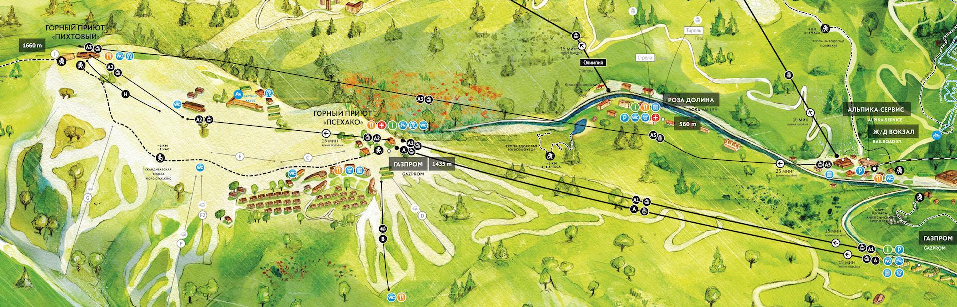 Схема канатной дороги в роза хутор
