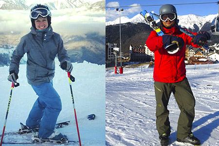 Анастасия иАндрей: горные лыжи исноуборд